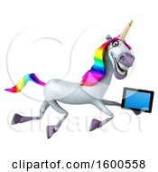 July 15th, 2018: Clipart Of A 3d Unicorn Holding A Tablet On A White Background Royalty Free Illustration by Julos
