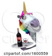 July 15th, 2018: Clipart Of A 3d Unicorn Holding Wine On A White Background Royalty Free Illustration by Julos
