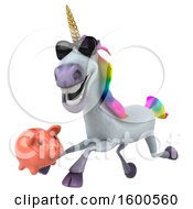 July 15th, 2018: Clipart Of A 3d Unicorn Holding A Piggy Bank On A White Background Royalty Free Illustration by Julos