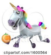 July 15th, 2018: Clipart Of A 3d Unicorn Holding An Orange On A White Background Royalty Free Illustration by Julos