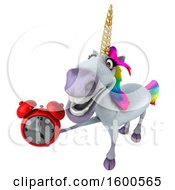 July 15th, 2018: Clipart Of A 3d Unicorn Holding An Alarm Clock On A White Background Royalty Free Illustration by Julos