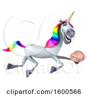 July 15th, 2018: Clipart Of A 3d Unicorn Holding A Brain On A White Background Royalty Free Illustration by Julos