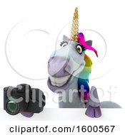 July 15th, 2018: Clipart Of A 3d Unicorn Holding A Camera On A White Background Royalty Free Illustration by Julos
