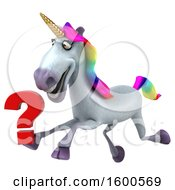 July 15th, 2018: Clipart Of A 3d Unicorn Holding A Question Mark On A White Background Royalty Free Illustration by Julos