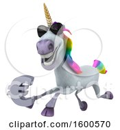 July 15th, 2018: Clipart Of A 3d Unicorn Holding A Euro On A White Background Royalty Free Illustration by Julos