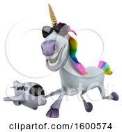July 15th, 2018: Clipart Of A 3d Unicorn Holding A Plane On A White Background Royalty Free Illustration by Julos