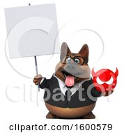 July 15th, 2018: Clipart Of A 3d Business German Shepherd Dog Holding A Devil On A White Background Royalty Free Illustration by Julos