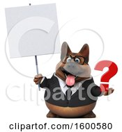 July 15th, 2018: Clipart Of A 3d Business German Shepherd Dog Holding A Question Mark On A White Background Royalty Free Illustration by Julos
