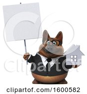 July 15th, 2018: Clipart Of A 3d Business German Shepherd Dog Holding A House On A White Background Royalty Free Illustration by Julos