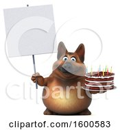 July 15th, 2018: Clipart Of A 3d German Shepherd Dog Holding A Birthday Cake On A White Background Royalty Free Illustration by Julos