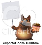 July 15th, 2018: Clipart Of A 3d German Shepherd Dog Holding A Cupcake On A White Background Royalty Free Illustration by Julos
