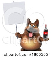 July 15th, 2018: Clipart Of A 3d German Shepherd Dog Holding Wine On A White Background Royalty Free Illustration by Julos