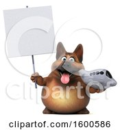 Clipart Of A 3d German Shepherd Dog Holding A Plane On A White Background Royalty Free Illustration