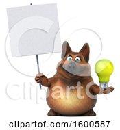 Poster, Art Print Of 3d German Shepherd Dog Holding A Light Bulb On A White Background
