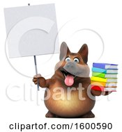 July 15th, 2018: Clipart Of A 3d German Shepherd Dog Holding Books On A White Background Royalty Free Illustration by Julos