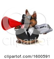 July 15th, 2018: Clipart Of A 3d Business German Shepherd Dog Holding A Plane On A White Background Royalty Free Illustration by Julos