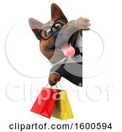 July 15th, 2018: Clipart Of A 3d Business German Shepherd Dog Holding Shopping Bags On A White Background Royalty Free Illustration by Julos