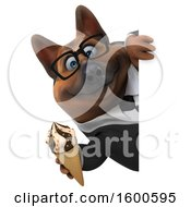 July 15th, 2018: Clipart Of A 3d Business German Shepherd Dog Holding A Waffle Cone On A White Background Royalty Free Illustration by Julos