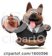 July 15th, 2018: Clipart Of A 3d Business German Shepherd Dog Holding A Fish Bowl On A White Background Royalty Free Illustration by Julos