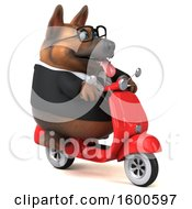 July 15th, 2018: Clipart Of A 3d Business German Shepherd Dog Riding A Scooter On A White Background Royalty Free Illustration by Julos
