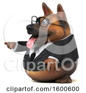 July 15th, 2018: Clipart Of A 3d Business German Shepherd Dog Pointing On A White Background Royalty Free Illustration by Julos