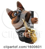 July 15th, 2018: Clipart Of A 3d Business German Shepherd Dog Playing A Saxophone On A White Background Royalty Free Illustration by Julos