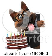 July 15th, 2018: Clipart Of A 3d Business German Shepherd Dog Holding A Birthday Cake On A White Background Royalty Free Illustration by Julos