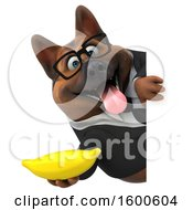 July 15th, 2018: Clipart Of A 3d Business German Shepherd Dog Holding A Banana On A White Background Royalty Free Illustration by Julos