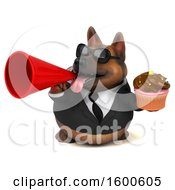 July 15th, 2018: Clipart Of A 3d Business German Shepherd Dog Holding A Cupcake On A White Background Royalty Free Illustration by Julos