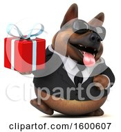 July 15th, 2018: Clipart Of A 3d Business German Shepherd Dog Holding A Gift On A White Background Royalty Free Illustration by Julos