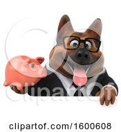 July 15th, 2018: Clipart Of A 3d Business German Shepherd Dog Holding A Piggy Bank On A White Background Royalty Free Illustration by Julos