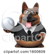 July 15th, 2018: Clipart Of A 3d Business German Shepherd Dog Holding A Golf Ball On A White Background Royalty Free Illustration by Julos
