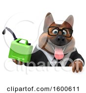 July 15th, 2018: Clipart Of A 3d Business German Shepherd Dog Holding A Gas Can On A White Background Royalty Free Illustration by Julos