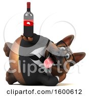 July 15th, 2018: Clipart Of A 3d Business German Shepherd Dog Holding Wine On A White Background Royalty Free Illustration by Julos