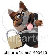 July 15th, 2018: Clipart Of A 3d Business German Shepherd Dog Holding A Padlock On A White Background Royalty Free Illustration by Julos