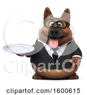 July 15th, 2018: Clipart Of A 3d Business German Shepherd Dog Holding A Plate On A White Background Royalty Free Illustration by Julos