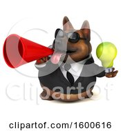 Poster, Art Print Of 3d Business German Shepherd Dog Holding A Light Bulb On A White Background