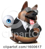 July 15th, 2018: Clipart Of A 3d Business German Shepherd Dog Holding An Eyeball On A White Background Royalty Free Illustration by Julos