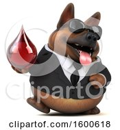 July 15th, 2018: Clipart Of A 3d Business German Shepherd Dog Holding A Blood Drop On A White Background Royalty Free Illustration by Julos