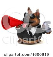 July 15th, 2018: Clipart Of A 3d Business German Shepherd Dog Holding A Euro On A White Background Royalty Free Illustration by Julos