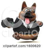 July 15th, 2018: Clipart Of A 3d Business German Shepherd Dog Holding A Camera On A White Background Royalty Free Illustration by Julos