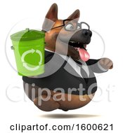 July 15th, 2018: Clipart Of A 3d Business German Shepherd Dog Holding A Recycle Bin On A White Background Royalty Free Illustration by Julos