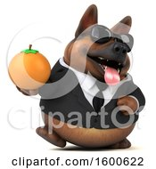 July 15th, 2018: Clipart Of A 3d Business German Shepherd Dog Holding An Orange On A White Background Royalty Free Illustration by Julos