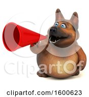 July 15th, 2018: Clipart Of A 3d German Shepherd Dog Using A Megaphone On A White Background Royalty Free Illustration by Julos