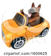 July 15th, 2018: Clipart Of A 3d German Shepherd Dog Driving A Convertible On A White Background Royalty Free Illustration by Julos