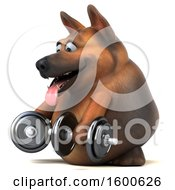 July 15th, 2018: Clipart Of A 3d German Shepherd Dog Working Out With Dumbbells On A White Background Royalty Free Illustration by Julos