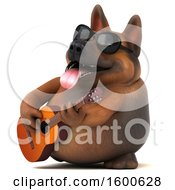 3d German Shepherd Dog Playing A Guitar On A White Background
