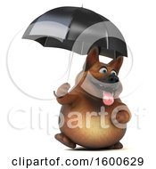 July 15th, 2018: Clipart Of A 3d German Shepherd Dog Holding An Umbrella On A White Background Royalty Free Illustration by Julos