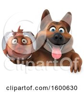 July 15th, 2018: Clipart Of A 3d German Shepherd Dog Holding A Fish Bowl On A White Background Royalty Free Illustration by Julos
