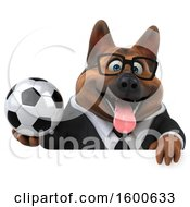 July 15th, 2018: Clipart Of A 3d Business German Shepherd Dog Holding A Soccer Ball On A White Background Royalty Free Illustration by Julos